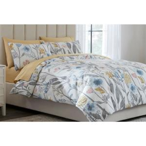 Purcell 3-Piece Washed Denim Botanical King Duvet Cover Set