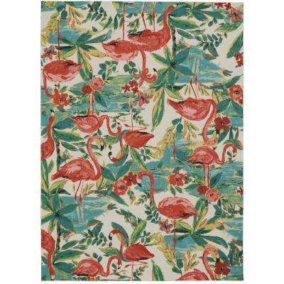 Sun N Shade Flamingo Multicolor 5 ft. 3 in. x 7 ft. 5 in. Area Rug
