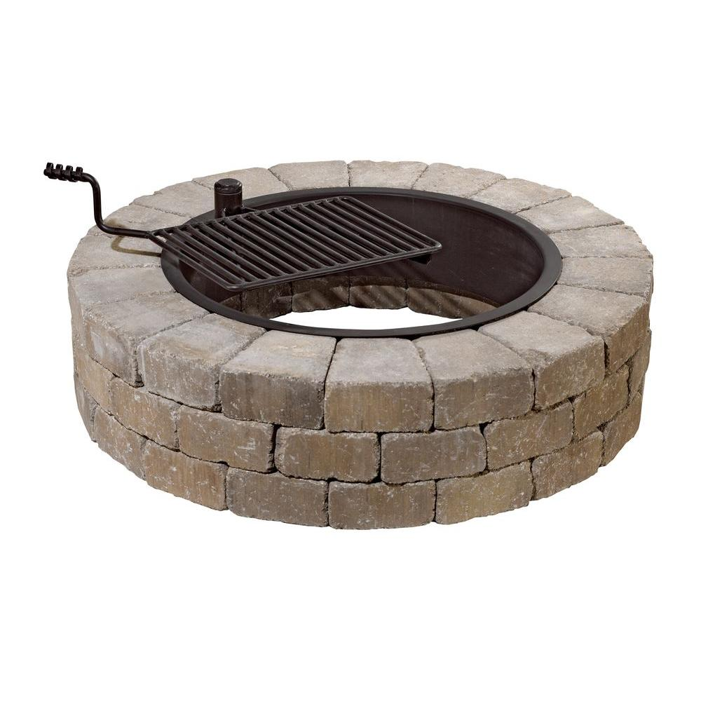 Fire Pit Kit in Santa Fe with Cooking Grate - Necessories Grand 48 In. Fire Pit Kit In Santa Fe With Cooking Grate