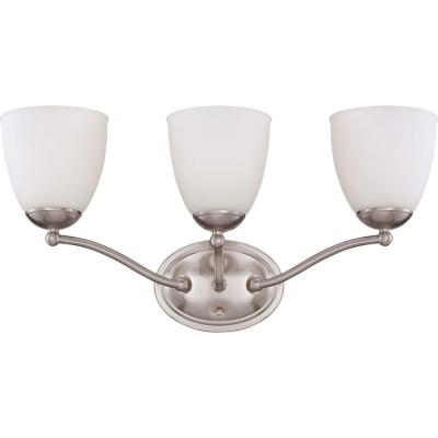 3-Light Brushed Nickel Vanity Fixture with Frosted Glass Shade