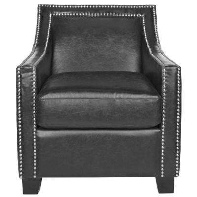 Leandro Antique Black Bicast Leather Club Arm Chair