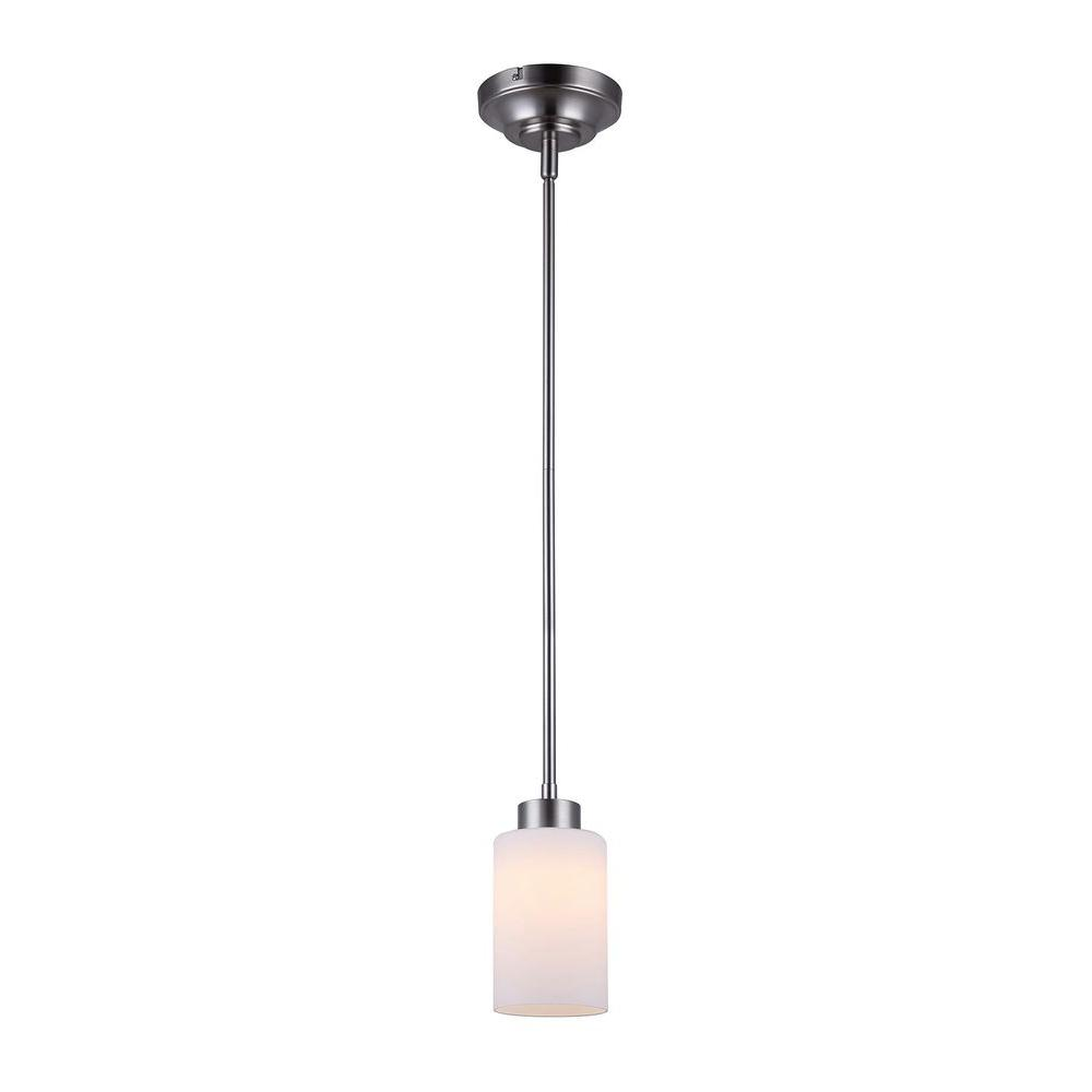 CANARM Beecher Brushed Nickel LED Pendant with Flat Opal Glass