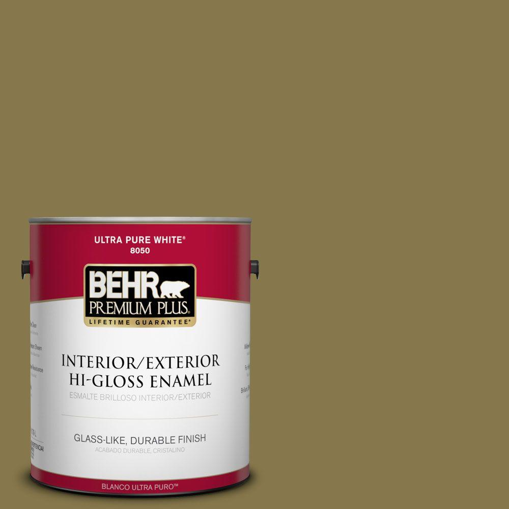 1-gal. #M330-7 Green Tea Leaf Hi-Gloss Enamel Interior/Exterior Paint