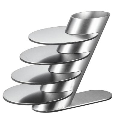 Remy 4 in. Stainless Steel Round Coasters and Holder (4-Pack)