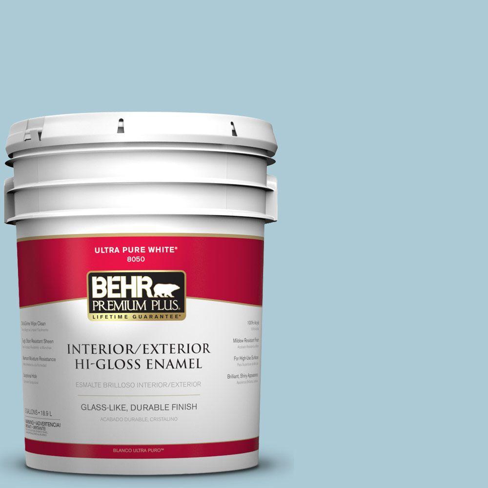BEHR Premium Plus 5-gal. #S480-2 Sea Wind Hi-Gloss Enamel Interior/Exterior Paint