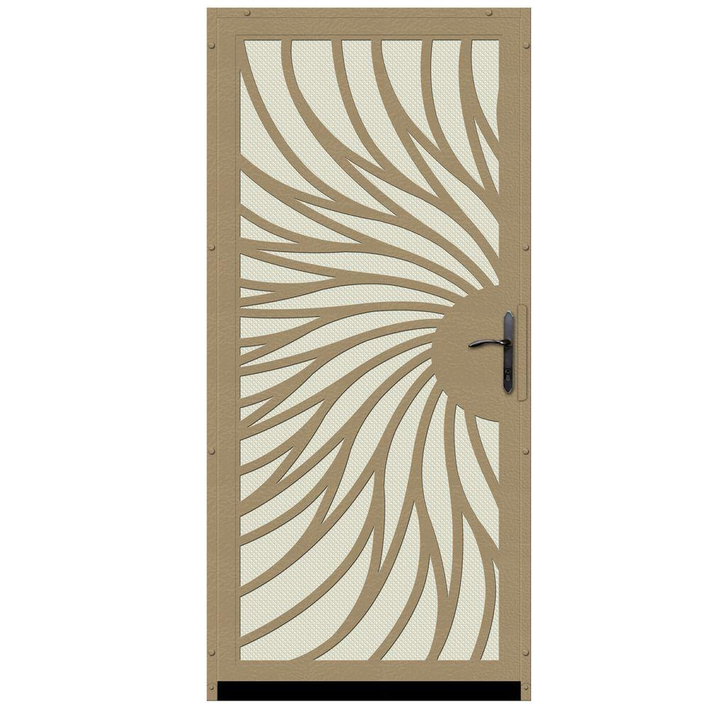Unique Home Designs 36 in. x 80 in. Solstice Tan Surface Mount Steel Security Door with Almond Perforated Screen and Bronze Hardware