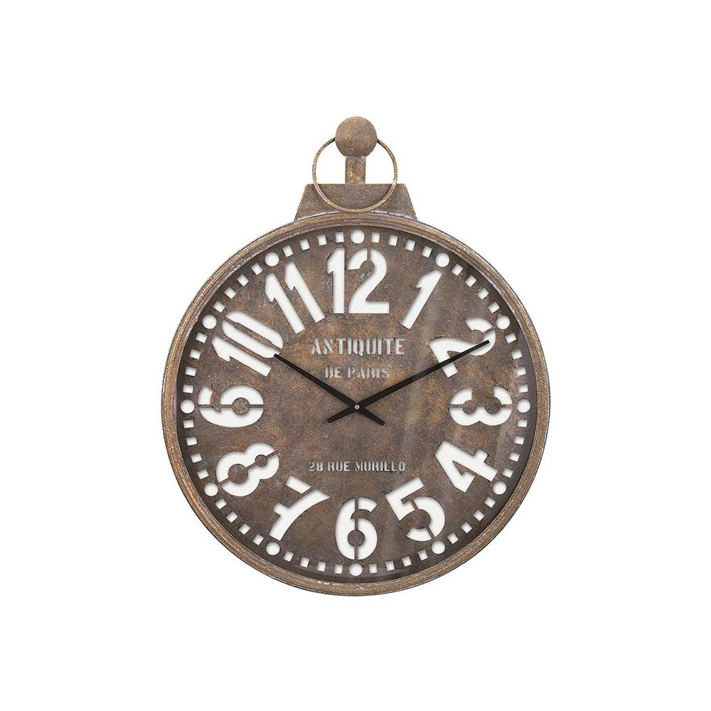 Barrett 32.5 in. x 23.5 in. Round Iron Wall Clock