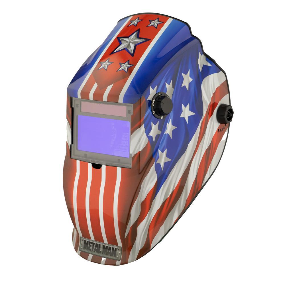 Patriotic 9 to 13 Shade Auto Darkening Welding Helmet with 3.78 in. x 2.05 in. Viewing Area