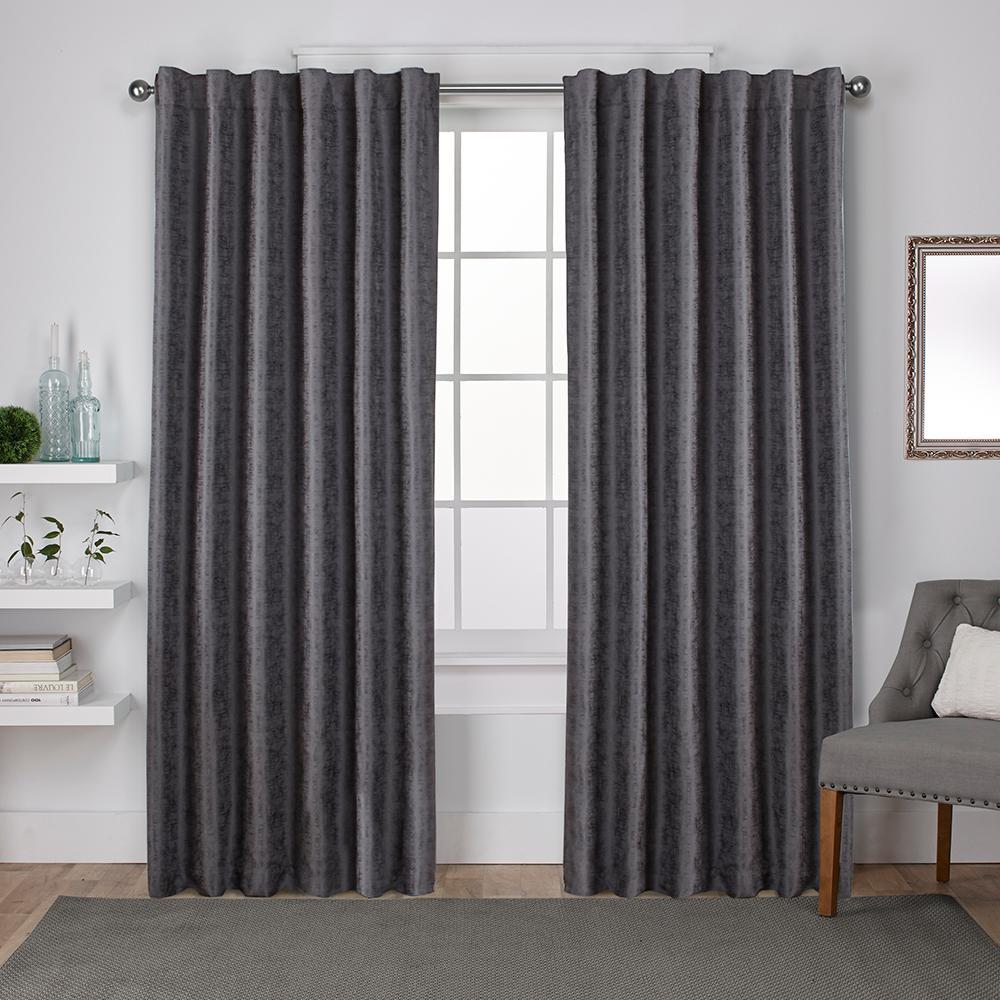 Zeus 52 in. W x 108 in. L Woven Blackout Hidden Tab Top Curtain Panel in Black Pearl (2 Panels)