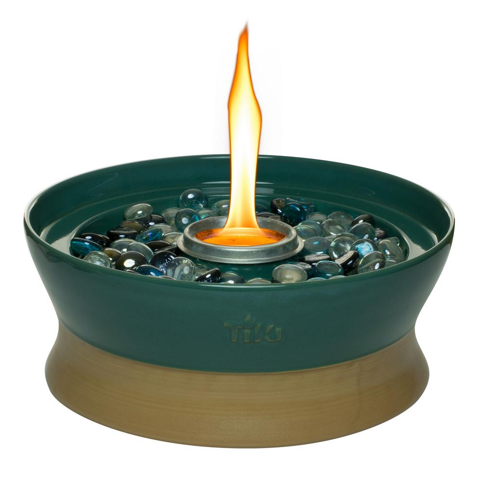 Clean Burn Ceramic Tabletop Firepiece Torch Teal 111615568   The Home Depot