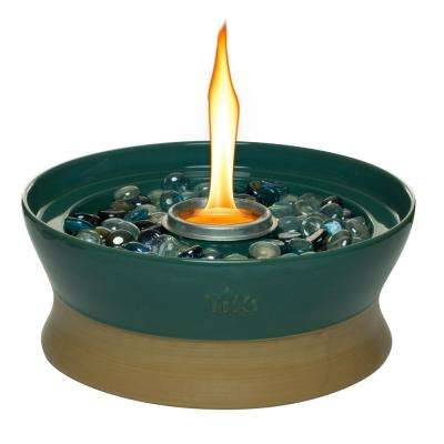 10 in. Clean Burn Ceramic Tabletop Firepiece Torch Teal