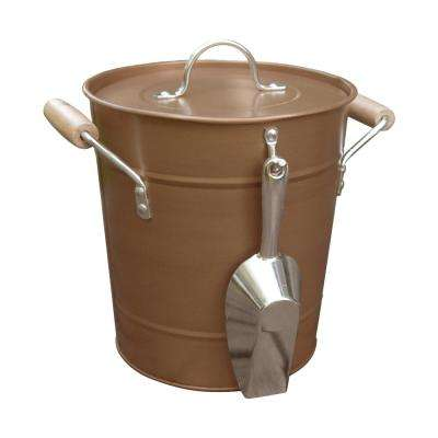 Metal Ice Bucket Antique Copper with Plastic Liner and Scoop