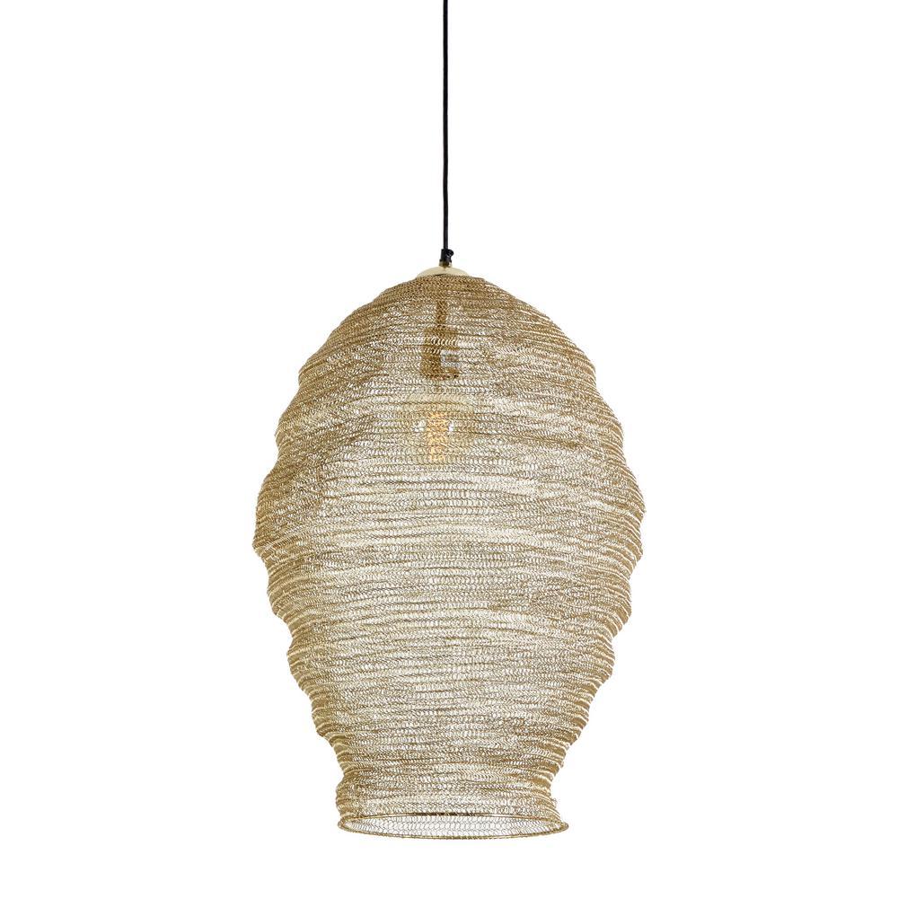 Litton Lane 11 In X 28 In Gold Lighting Pendants Gold Metal Mesh Pendant Light 45496 The Home Depot