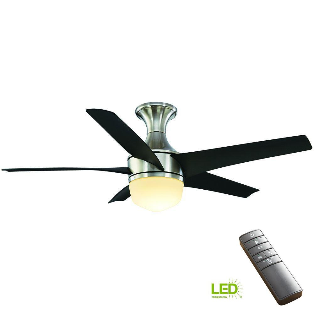 home decorators collection tuxford 44 in led indoor brushed nickel ceiling fan with light kit. Black Bedroom Furniture Sets. Home Design Ideas