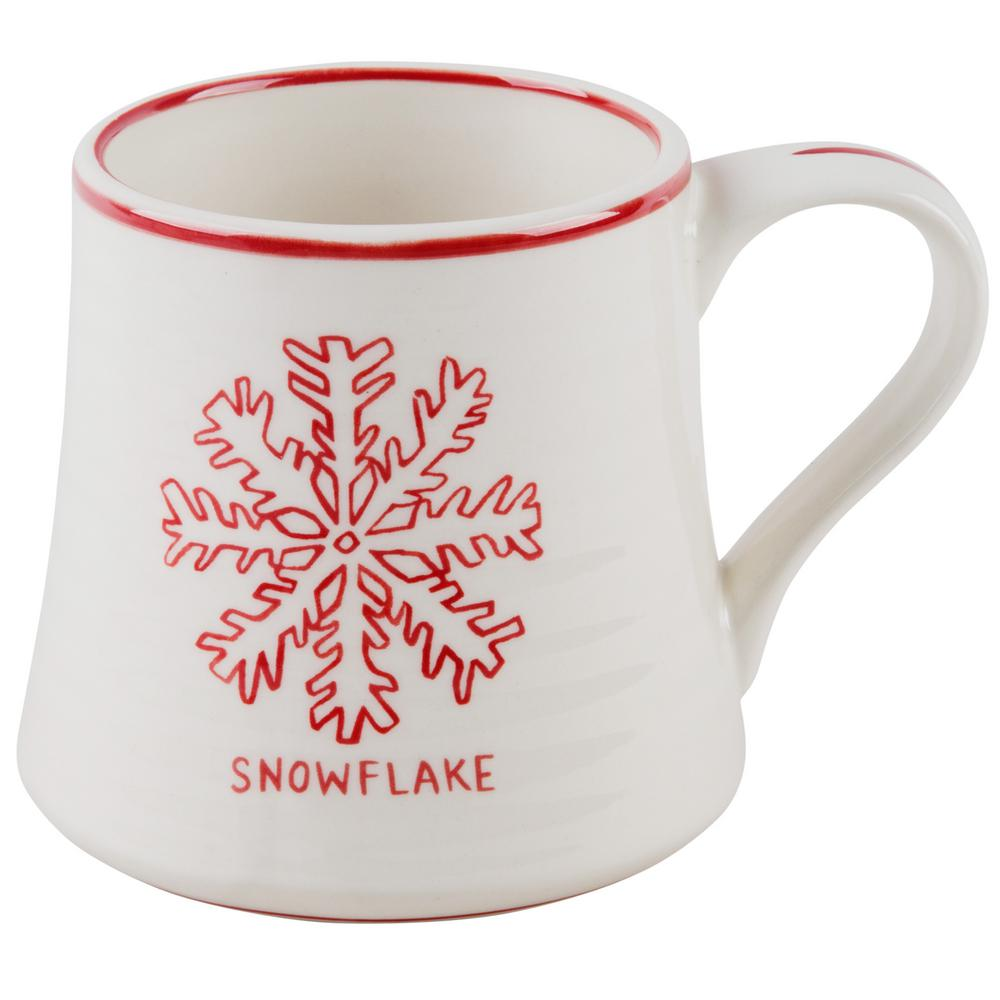 Molly Hatch Molly Hatch 16 oz. Snowflake Mug, White and Red
