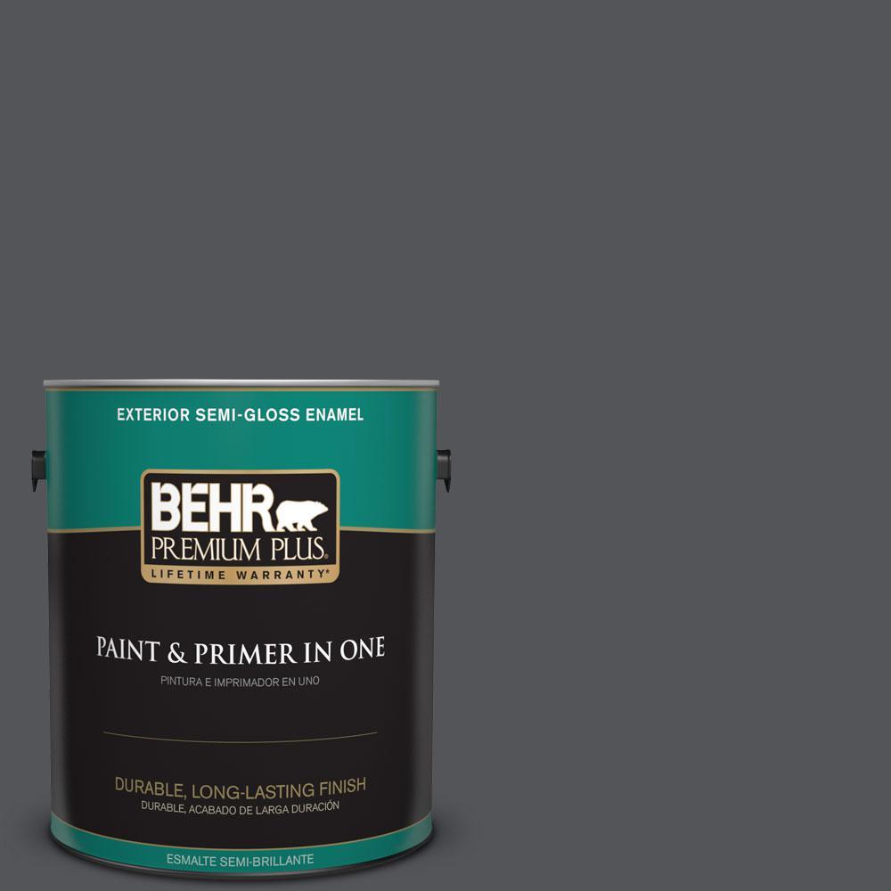 BEHR Premium Plus 1-gal. #N510-6 Orion Gray Semi-Gloss Enamel Exterior Paint