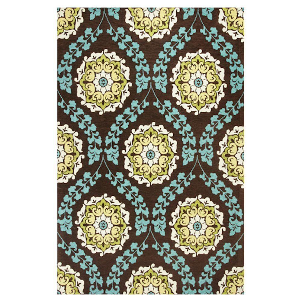 Kas Rugs Tapestry Weave Brown/Blue 7 ft. 9 in. x 9 ft. 9 in. Area Rug