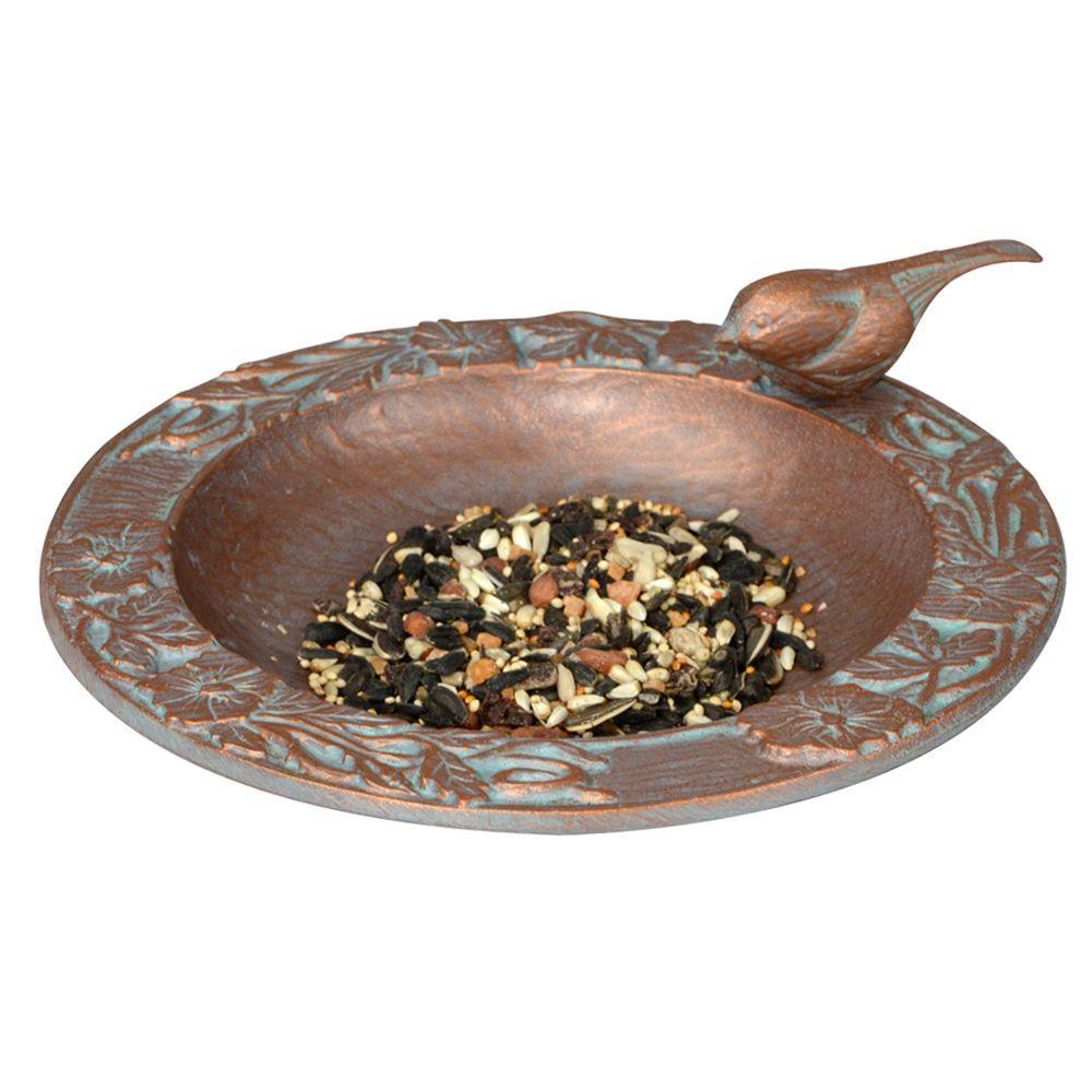 Copper Verdigris Chickadee Garden Bird Feeder