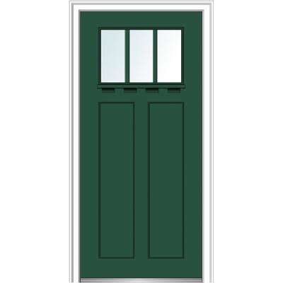 36 in.x80 in. Low-E Glass Left-Hand Craftsman 2-Panel 3-Lite Clear Painted Fiberglass Smooth Prehung Front Door w/ Shelf