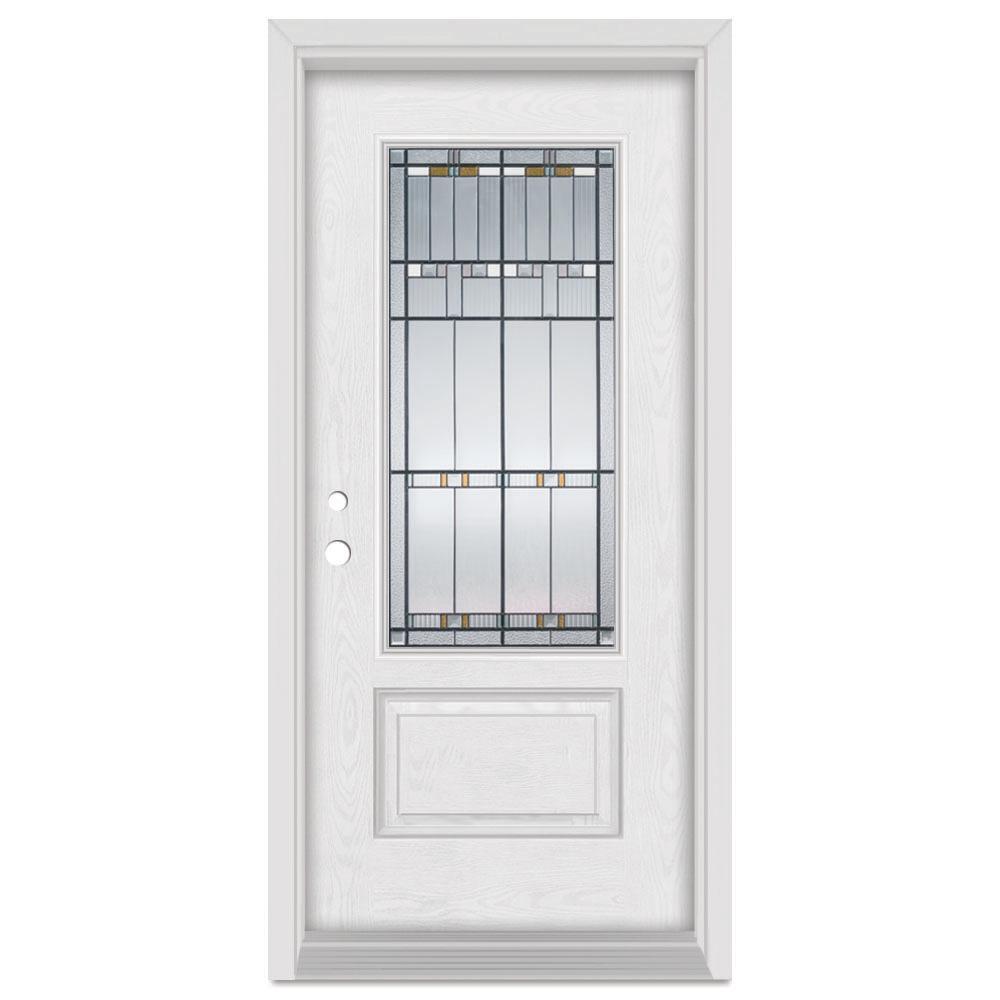 Stanley Doors 36 in. x 80 in. Architectural Right-Hand Patina Finished Fiberglass Oak Woodgrain Prehung Front Door Brickmould