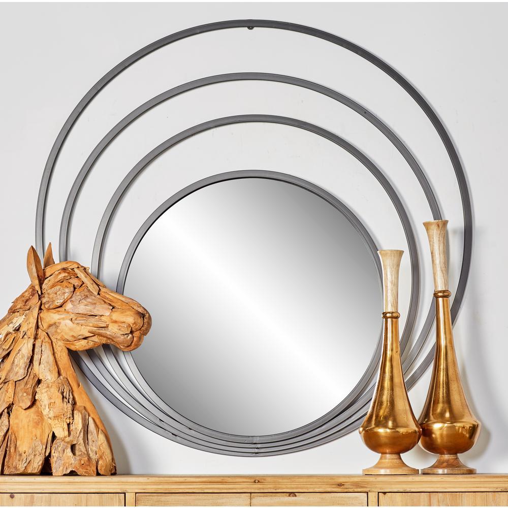 48 in. Round Mettalic Gray Decorative Wall Mirror with 4-Eccentric Circles