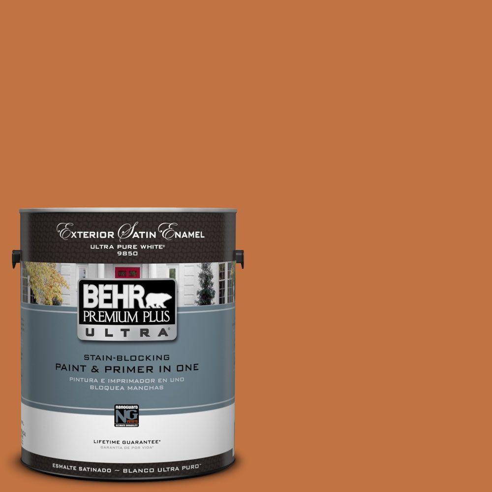BEHR Premium Plus Ultra 1-Gal. #UL120-8 Marmalade Glaze Satin Enamel Exterior Paint