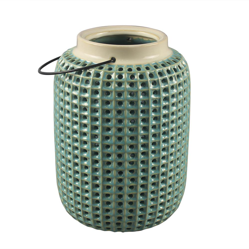 Southern Patio Tall Urchin Green Tabletop Lantern
