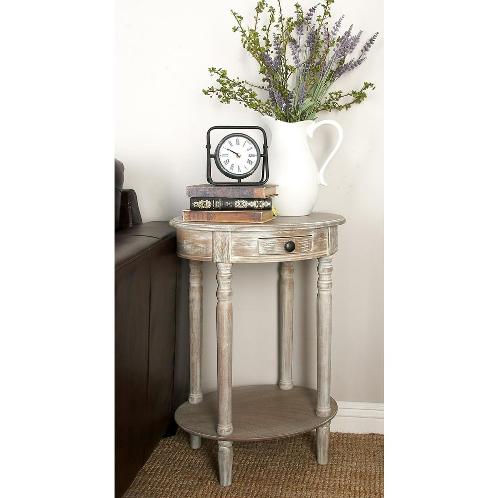 Litton Lane Whitewashed Taupe Wooden Oval Accent Table With Drawer And Bottom Shelf 96290 The Home Depot