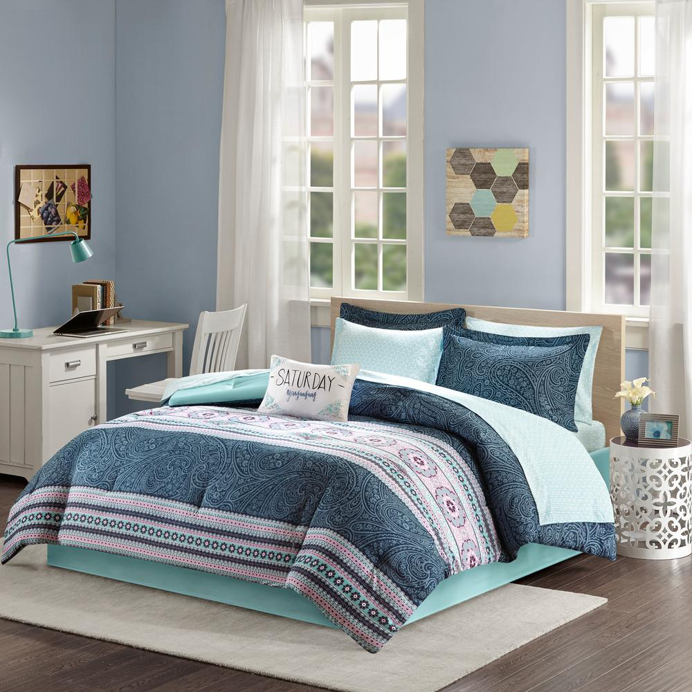 Intelligent Design Gloria 9 Piece Blue Queen Boho Comforter Set