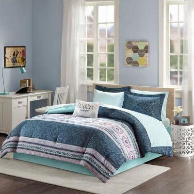 Gloria 9-Piece Blue Queen Boho Comforter Set