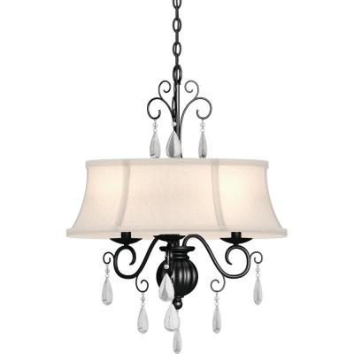 Ava 3-Light Indoor Foundry Bronze Candle-Style Chandelier with Ivory Fabric Drum Lamp Shade, Glass Teardrop Accents