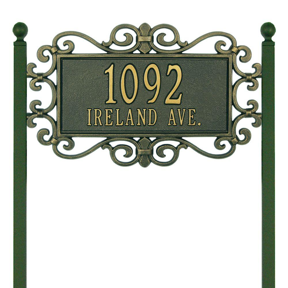 Whitehall Products Mears Fretwork Rectangular Bronze/Gold Estate Lawn Two Line Address Plaque