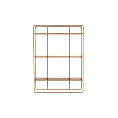30 in. H x 22 in. W x 7 in. D StyleWell Wood and Gold Metal Wall-Mount Bookshelf
