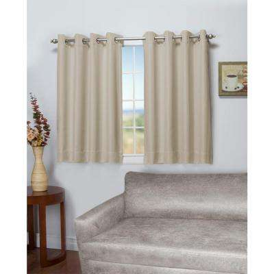 Tacoma 50 in. W x 54 in. L Polyester Double Blackout Grommet Window Panel in Parchment