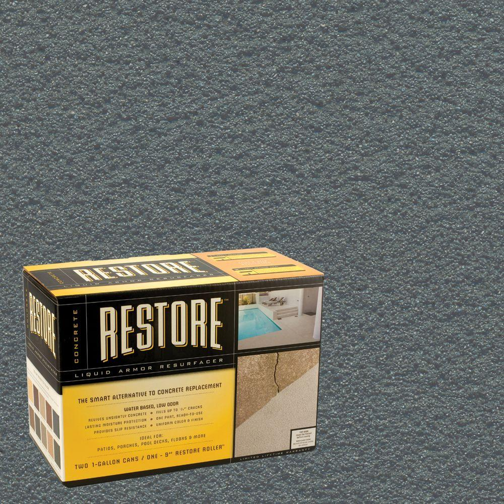Restore Concrete Liquid Armor Resurfacer 2 Gal. Kit Water Based Gray Exterior Coating