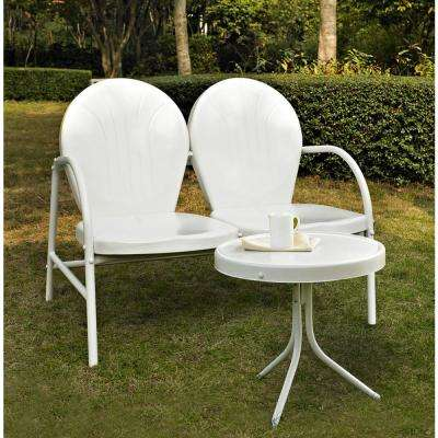 Griffith 2-Piece Metal Outdoor Conversation Seating Set - Loveseat and Table in White