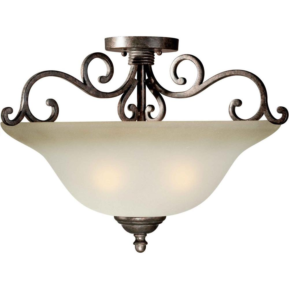 Talista 4-Light Semi Flush Mount Black Cherry Finish Shaded Umber Glass