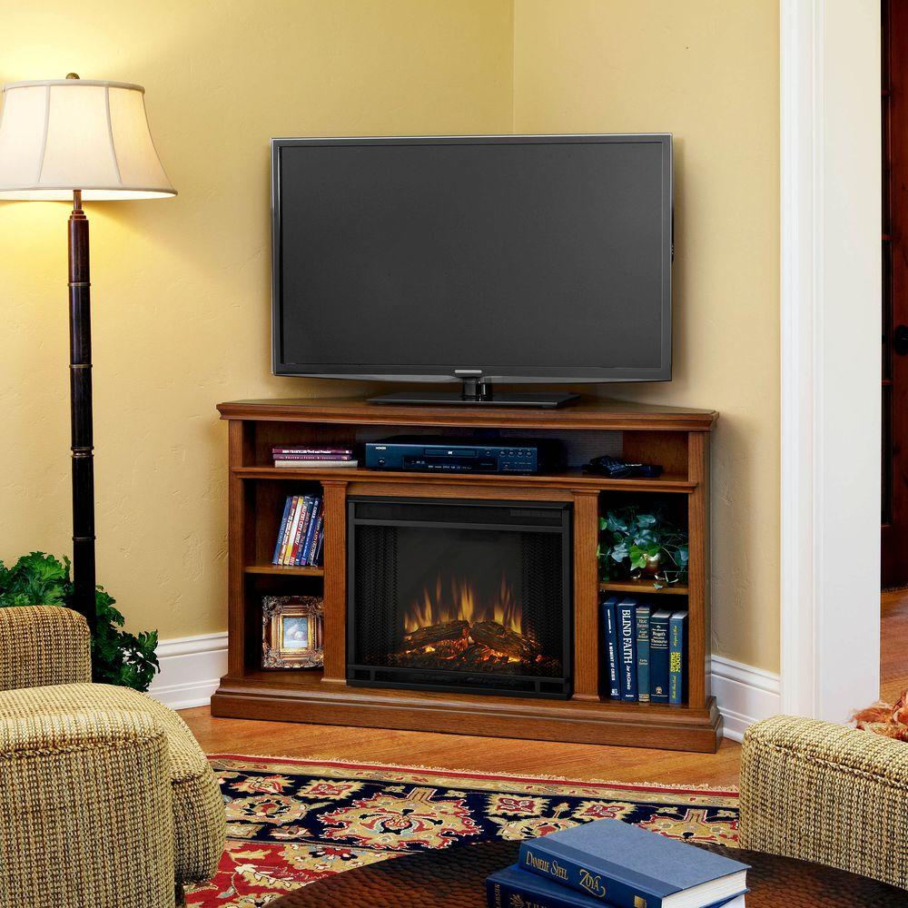 Real Flame Churchill 51 in. Corner Media Console Electric Fireplace in Oak