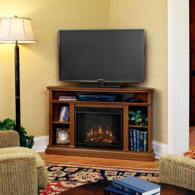 Churchill 51 in. Corner Media Console Electric Fireplace in Oak