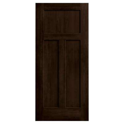 36 in. x 80 in. DesignGlide Craftsman Espresso Stained Smooth Molded Composite MDF Interior Barn Door Slab