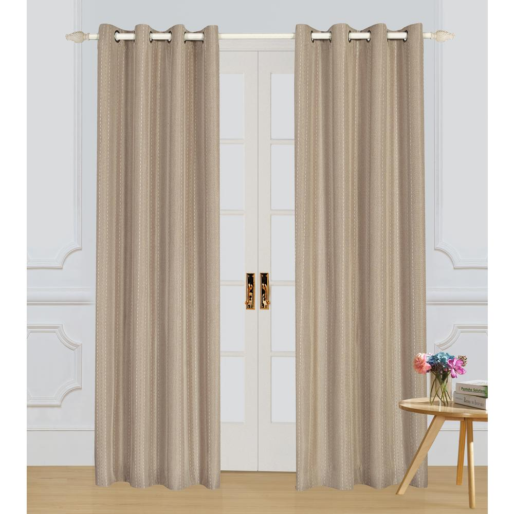 Lyndale Decor Murano Taupe Room-Darkening Polyester Curtain - 84 in. L x 54 in. W