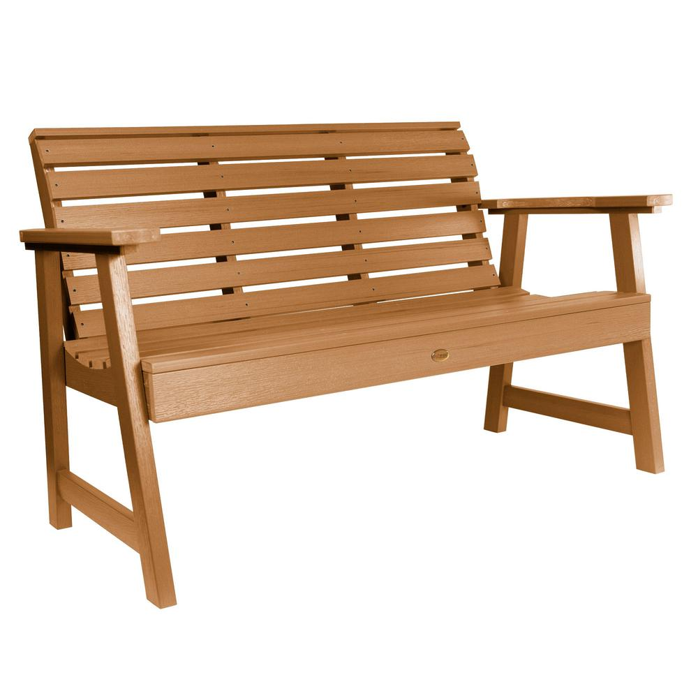 Highwood Weatherly 60 in. 2-Person Toffee Recycled Plastic Outdoor Garden Bench