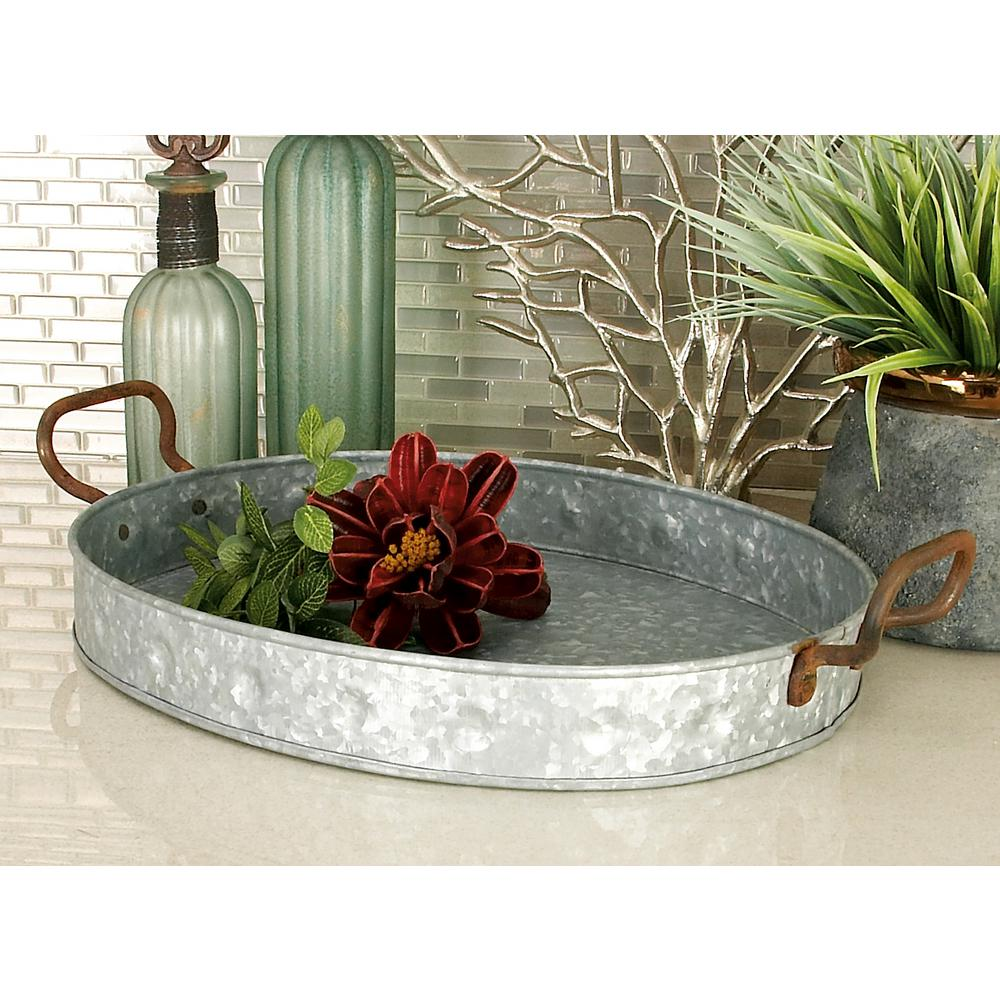 Farmhouse Galvanized Metallic Oval Metal Serving Trays (Set of 3)