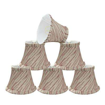 5 in. x 4 in. Off White and Red Stripe Bell Lamp Shade (6-Pack)