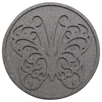 18 in. x 18 in. x 0.75 in. Rubber Reversible Butterfly Gray Stepping Stone (4-Pack)
