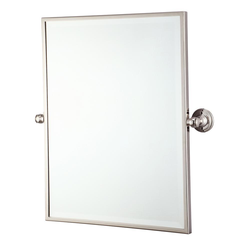 Water Creation 18 in. W x 24 in. H Frameless Rectangular Metal Bathroom Vanity Mirror in Polished Nickel