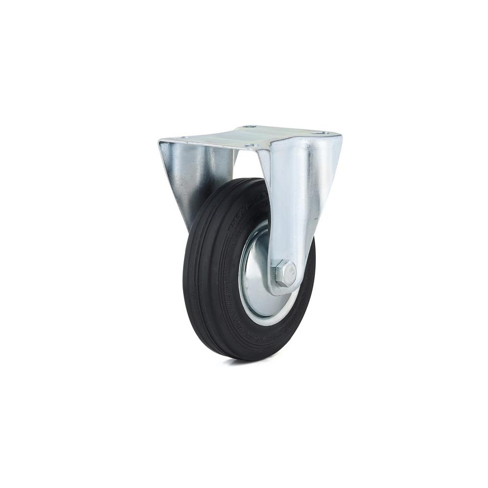 4-29/32 in. black Fixed plate Caster, 220.5 lb. Load Rating
