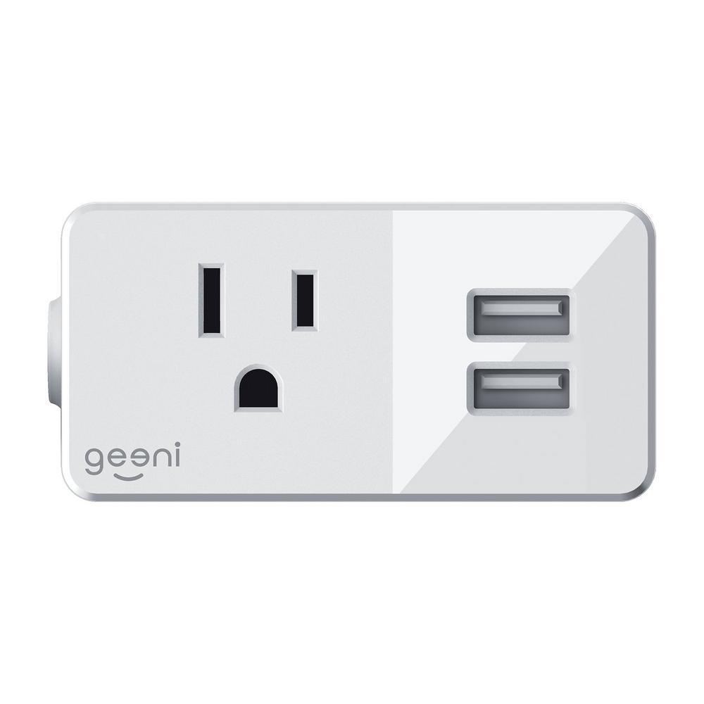 Geeni Switch and Charge Smart Wi-Fi Plug with 2-USB Ports
