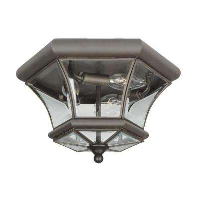 3-Light Bronze Flushmount with Clear Beveled Glass Shade