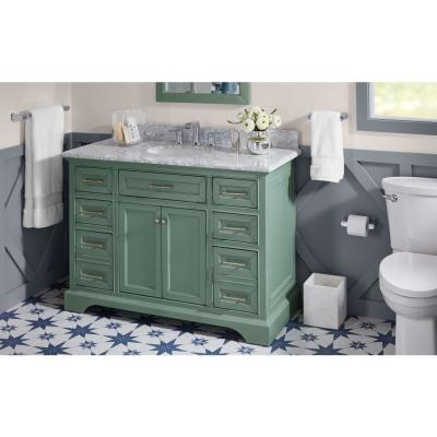 Windlowe 49 in. W x 22 in. D x 35 in. H Bath Vanity in Green with Carrera Marble Vanity Top in White with White Sink